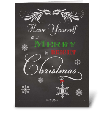 Chalkboard Merry & Bright Christmas greeting card