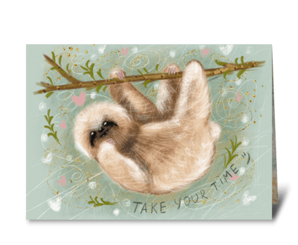 Cute fluffy sloth greeting card