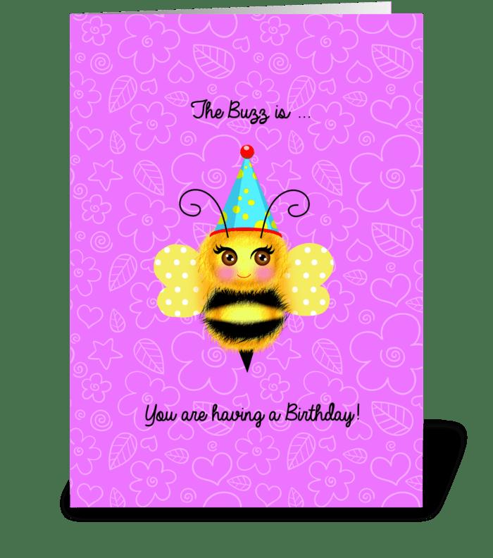 Buzzy Birthday Bee greeting card