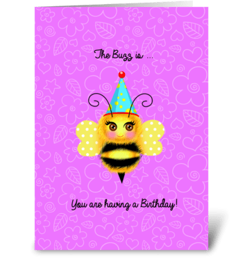 Buzzy Birthday Bee greeting card