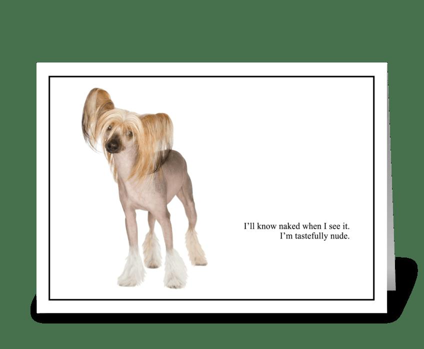 Nude versus Naked greeting card