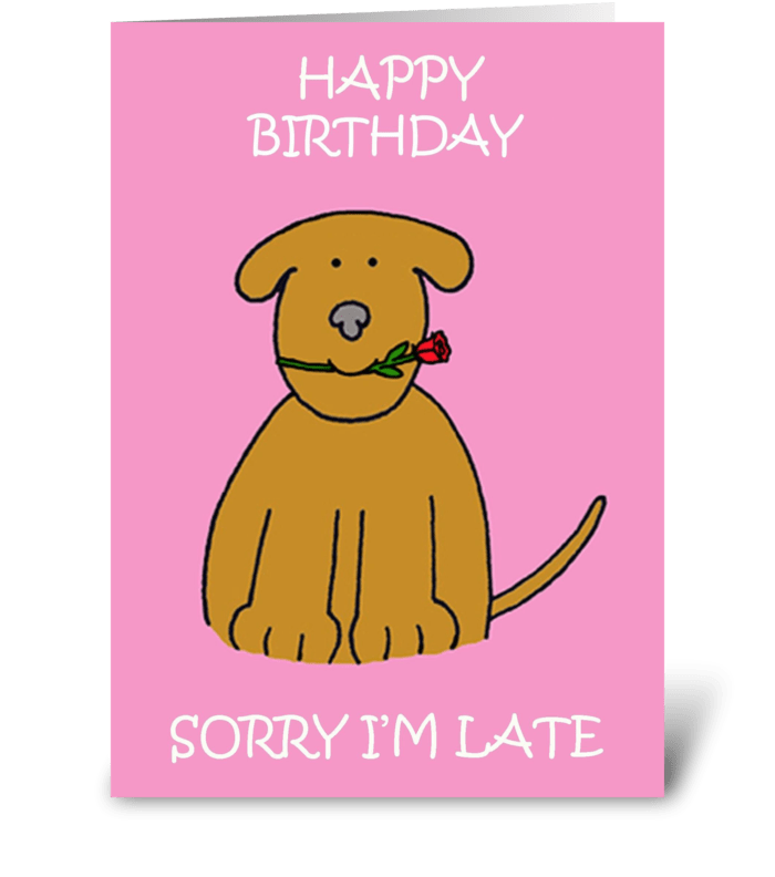 Belated Birthday Cute Puppy greeting card