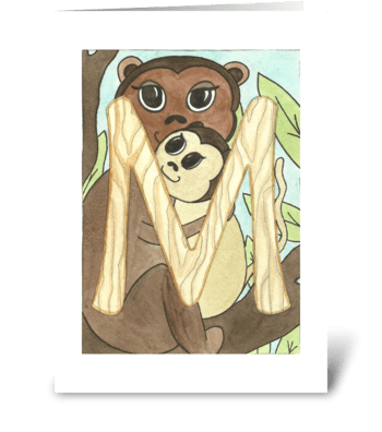 M for Monkey greeting card