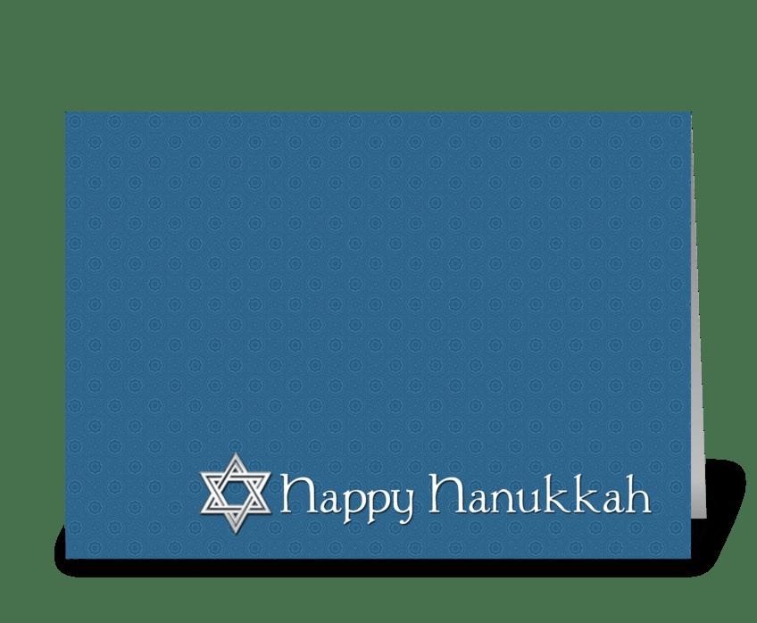 Happy Hanukkah, Star of David, Blue greeting card