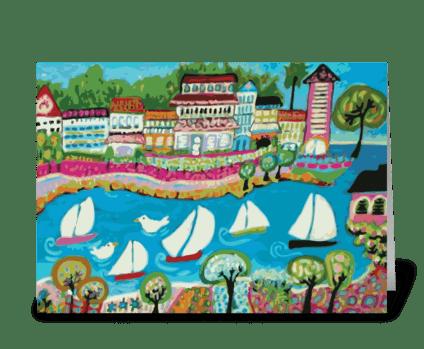 5 Sailboat Resort greeting card