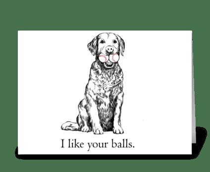 I like your balls dog card greeting card