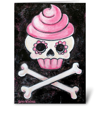 Rockin' Sweet Skull Cupcake greeting card