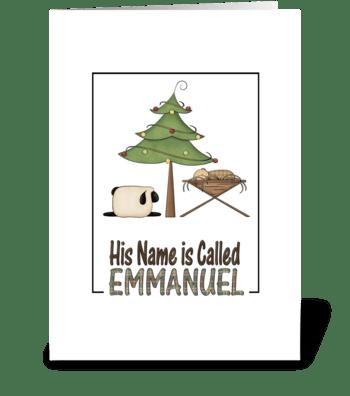 Christmas Emmanuel Baby Jesus in manger  greeting card