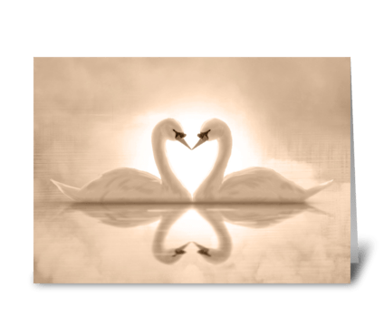 Swan Love Anniversary Card greeting card