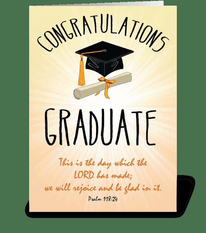 Religious Graduation Gold Starburst greeting card