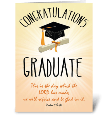 Religious Graduation Gold Starburst greeting card