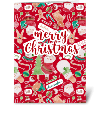 Merry Christmas watercolor pattern card  greeting card