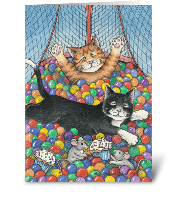 Birthday Party Invite Cats #8 greeting card