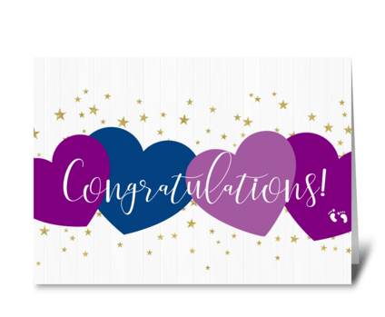 Purple and Gold Congratulations Card greeting card