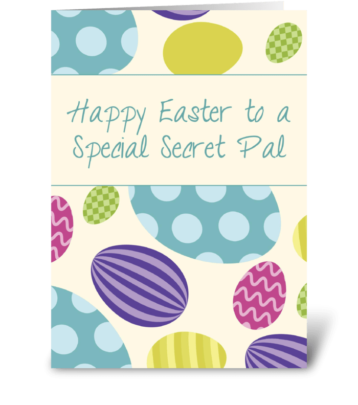 Secret Pal Easter Colorful Eggs greeting card