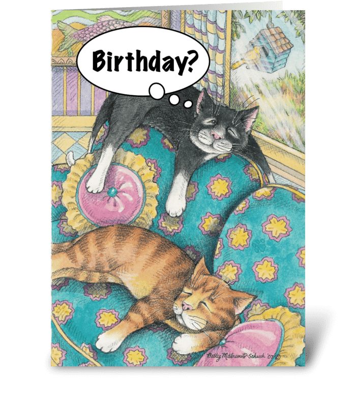 Sofa Napping Cats #5 greeting card