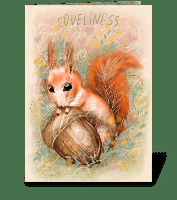 Cute fluffy squirrel with an acorn greeting card