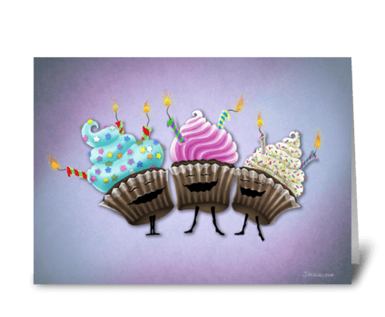 Cupcake Trio greeting card