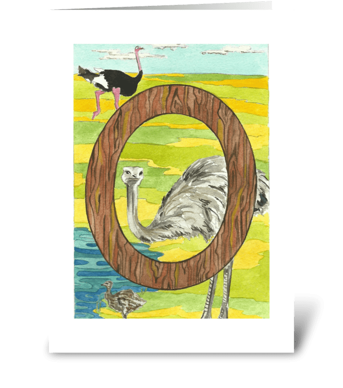 O for Ostrich greeting card