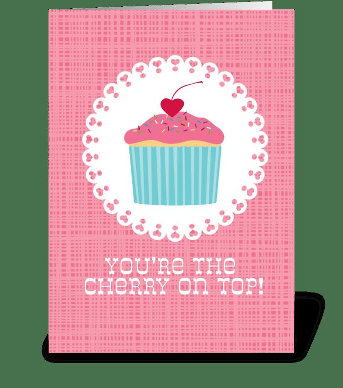 Cupcake Cherry greeting card