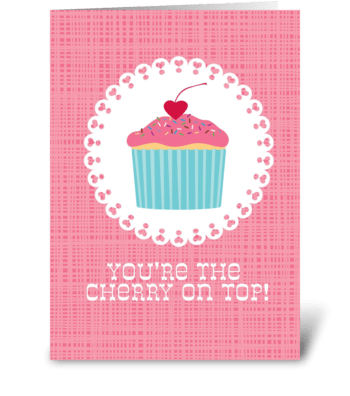 Cupcake Cherry greeting card