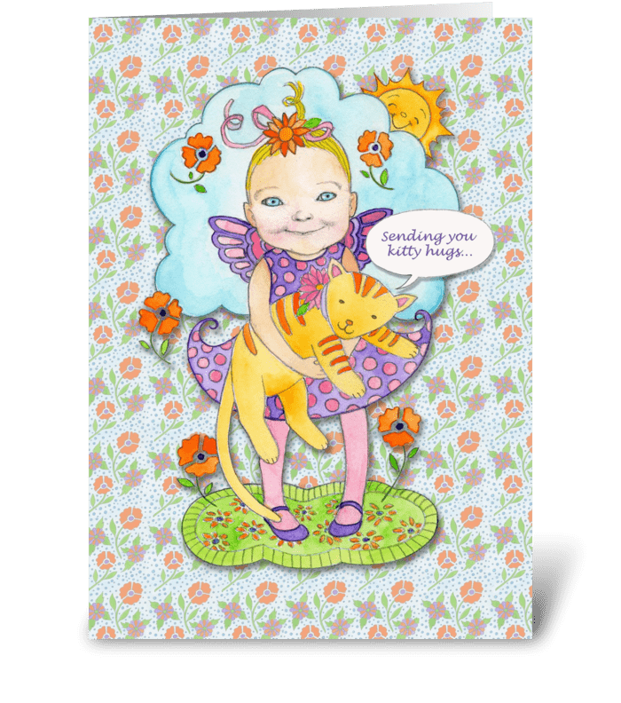 Child Get Well with Kitty Hugs greeting card