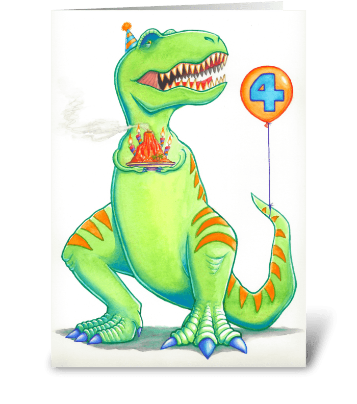 T Rex Birthday Greeting Card