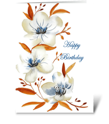 Happy Birthday Floral Watercolor Print greeting card