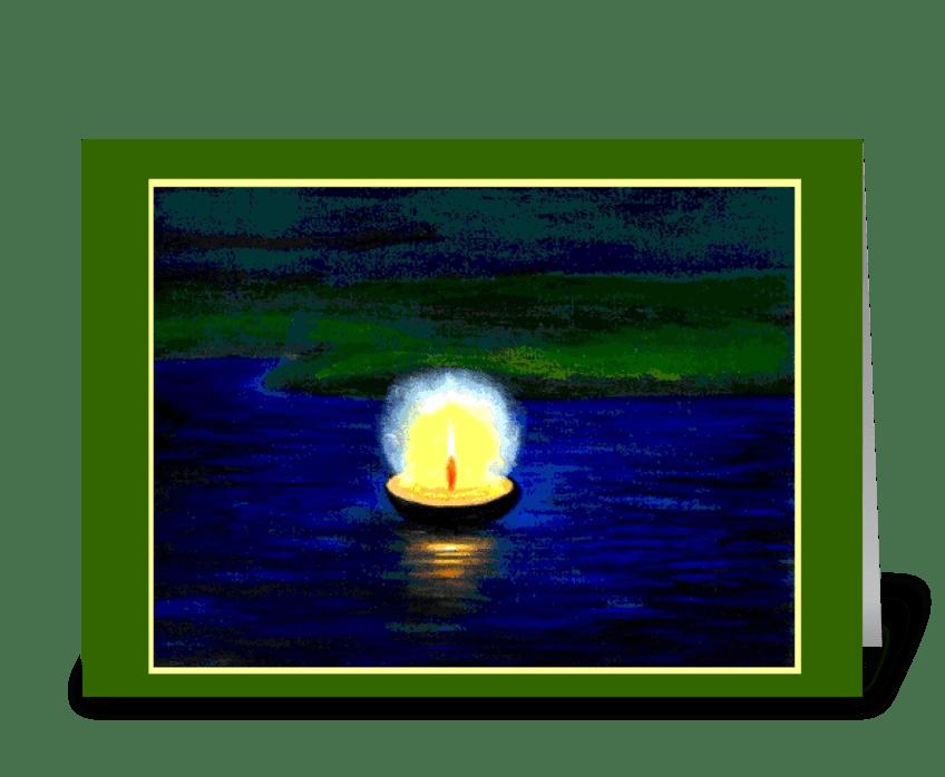 Diwali Floating Single Candle greeting card
