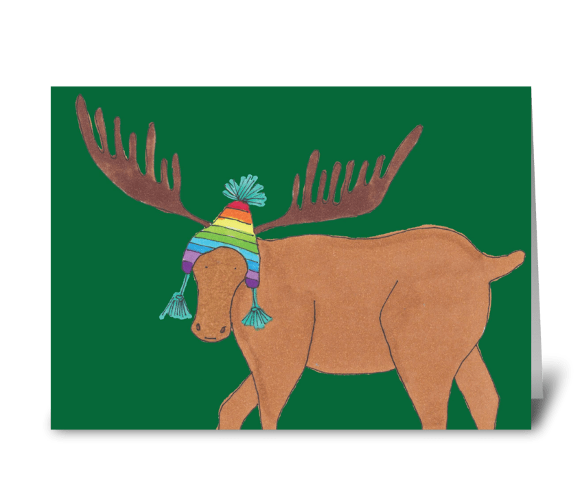 moose in ski hat greeting card