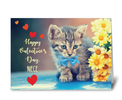 Niece Love Valentine Kitten greeting card