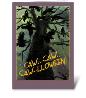 Raven's Halloween greeting card