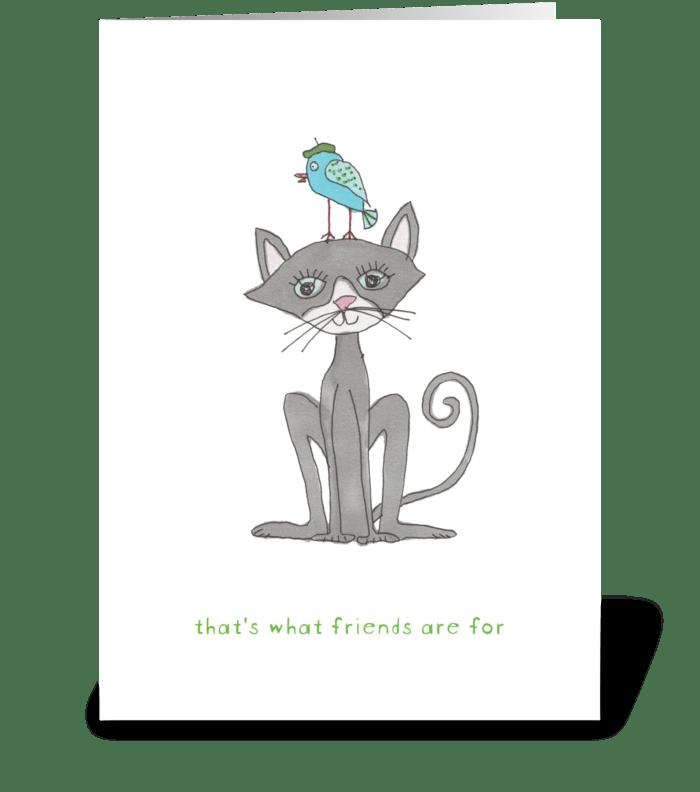 cat & bird greeting card