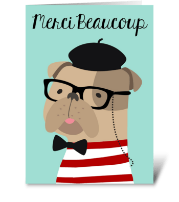 Frenchie Merci Beaucoup Thank You Card greeting card