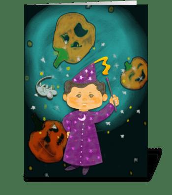 Halloween Wizard greeting card