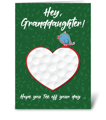 Granddaughter Golf Sports Valentine greeting card