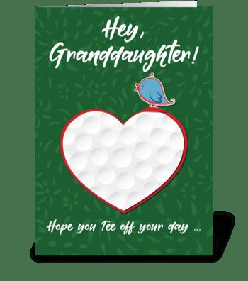 Granddaughter Golf Sports Valentine greeting card