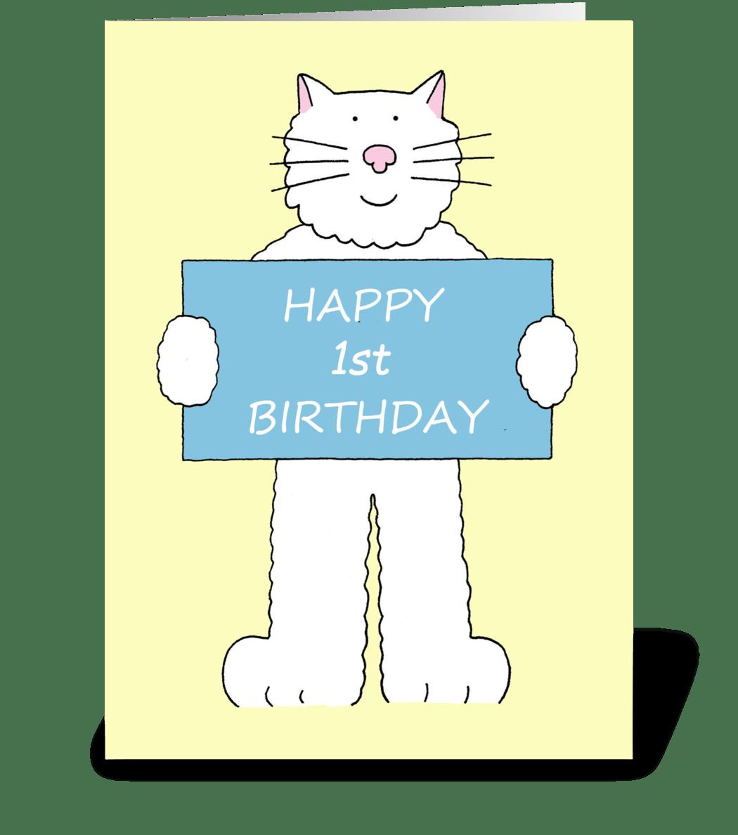 Happy 1st Birthday Cute Cat
