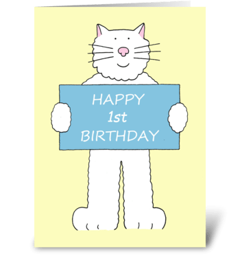 Happy 1st Birthday cute cat. greeting card