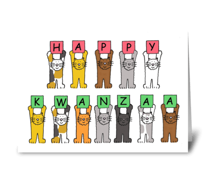 Happy Kwanzaa, Cute Cartoon Cats.. greeting card