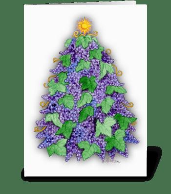 Wine Grape Christmas Tree greeting card