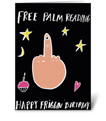 Free Middle Finger Palm Reading greeting card