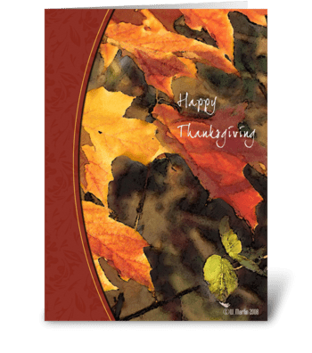 Golden Fall Leaves Thanksgiving Card greeting card