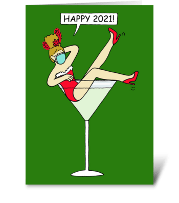 Covid 19 Happy New Year 2021 greeting card