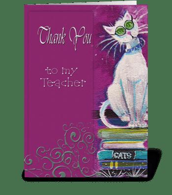 thank you Teacher, Cat greeting card