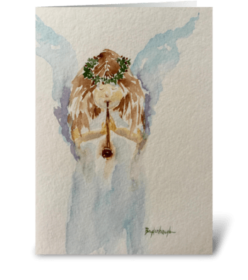 Child Heralding Angel: Peace On Earth greeting card