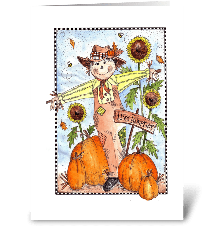Festive Fall Scarecrow  greeting card