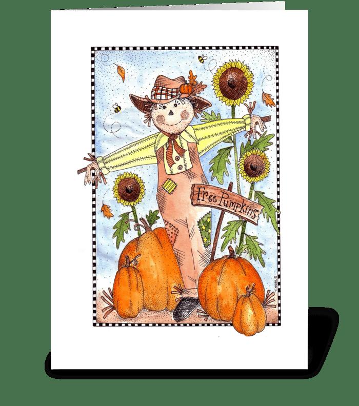 Festive Fall Scarecrow  greeting card