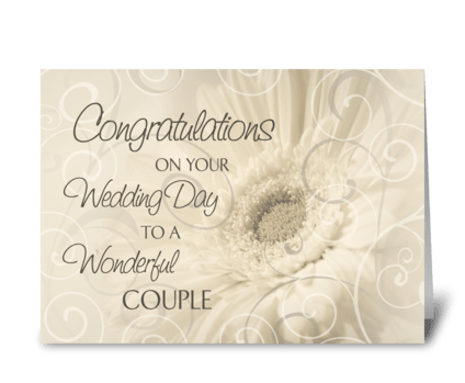 Wedding Day Congratulations White Swirls greeting card
