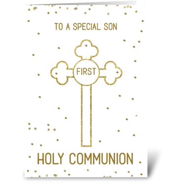 Son First Holy Communion Gold Look Cross greeting card